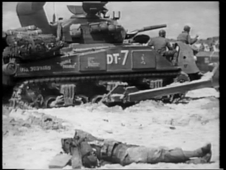 Waterproofed M4 Sherman tankdozer, Utah Beach, D-Day, screenshot
