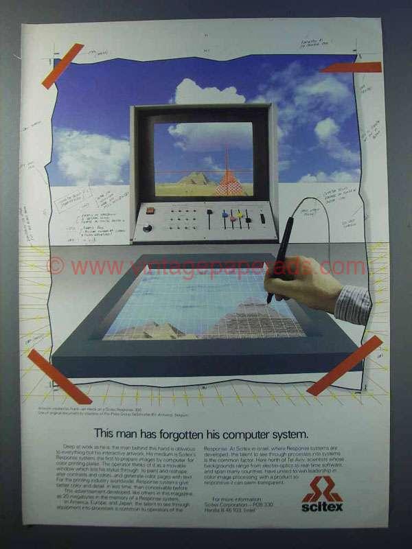Scitex Response pre-press computer-graphics system ad, 1981