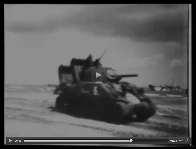 Wading M4 Sherman tank, Normandy beachhead, 6-6-44, Universal Newsreel screenshot