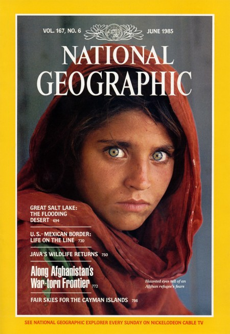 "Steve McCurry, ""The Afghan Girl,"" National Geographic, June 1985, cover"