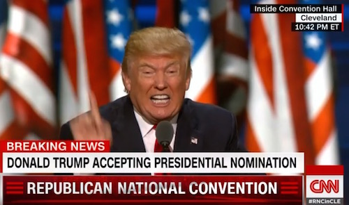 Donald Drumpf, Republican National Convention, 7-21-16, screenshot