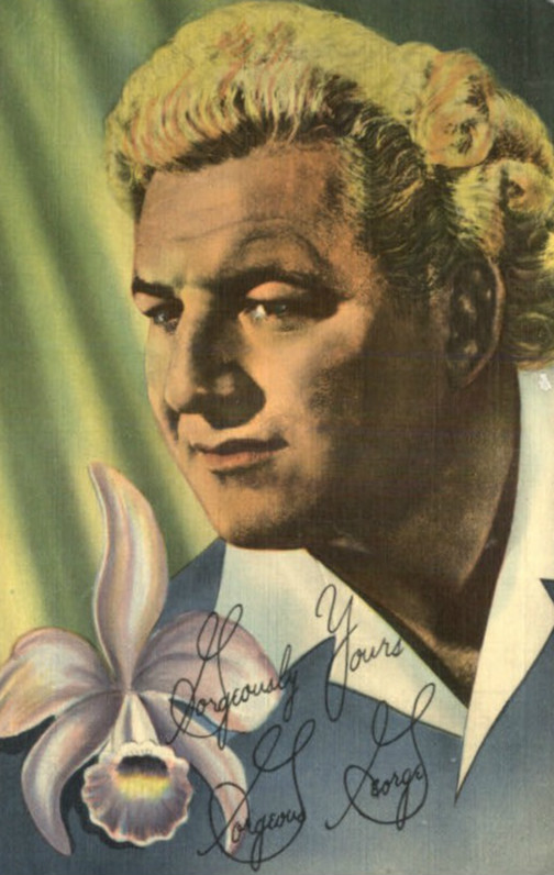 "Postcard featuring Gorgeous George, ""The Human Orchid,"" circa 1950"