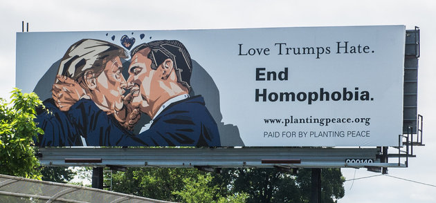 Love Trumps Hate billboard, Cleveland, 2016. Courtesy of Planting Peace.
