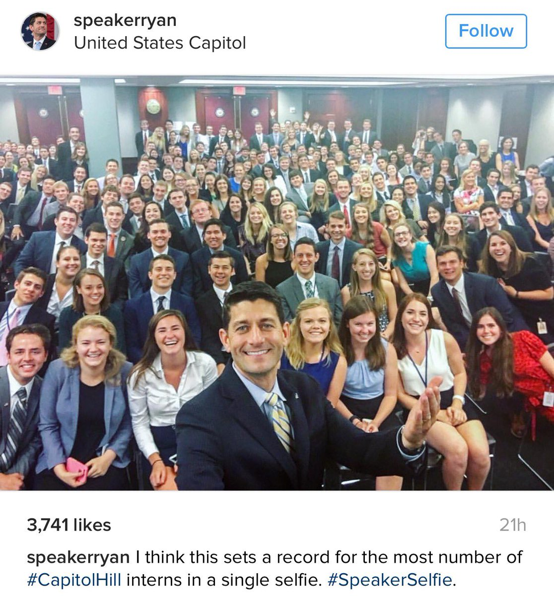 House Speaker Paul Ryan, Instagram selfie with Congressional interns, July 17, 2016