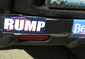 RUMP bumper sticker. Photo by anonymous visitor to this blog.