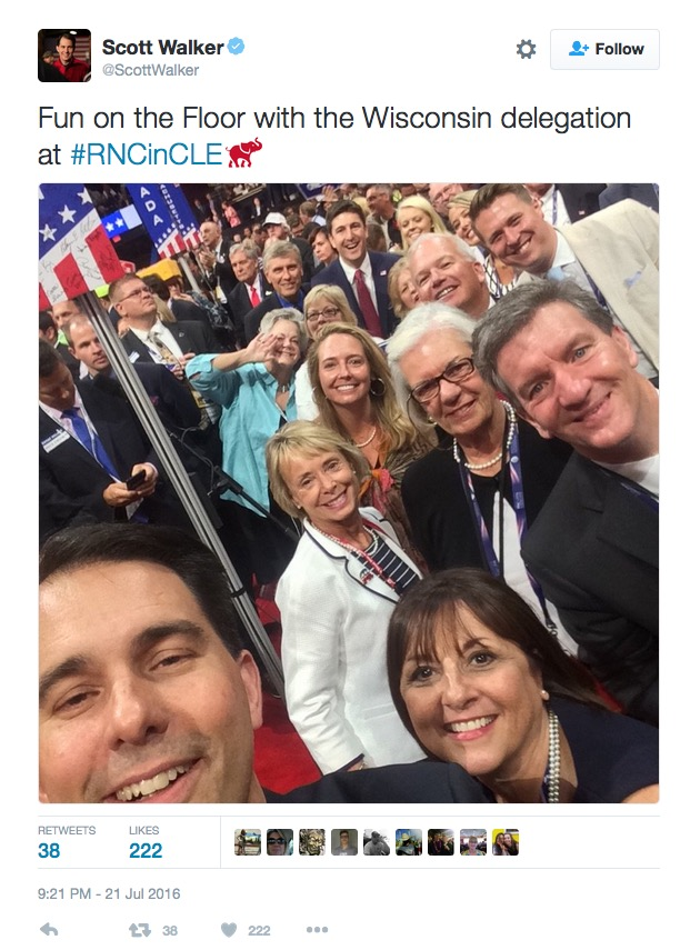 Gov. Scott Walker tweet, Wisconsin delegation, RNC, 7-21-16