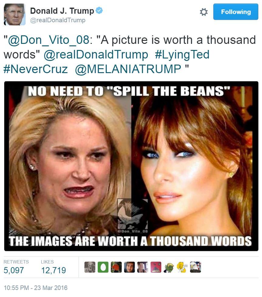 Donald Trump tweet, Heidi Cruz vs. Melania Trump, 3-23-16