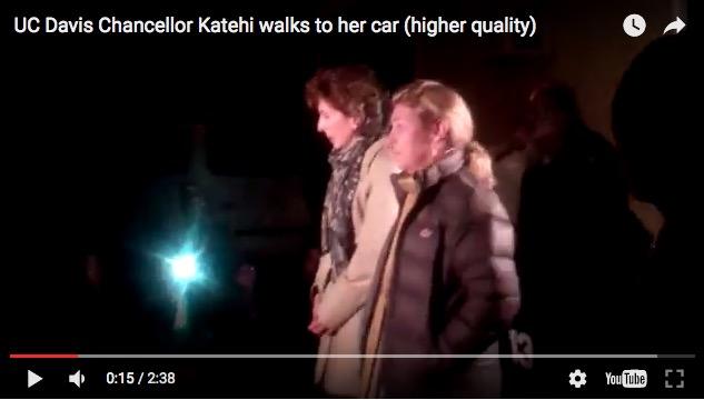 "Linda Katehi, UC Davis Chancellor, still from ""Walk of Shame"" video, 11-20-11."