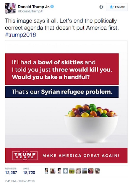 Donald Trump, Jr, Skittles tweet, 9-19-16