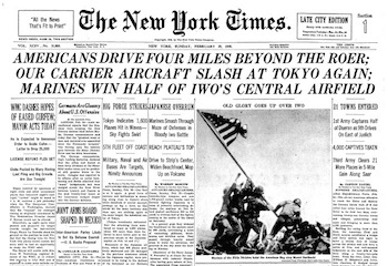 New York Times, front page with Rosenthal Iwo Jima photo, 2-25-45
