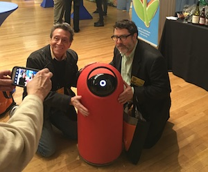 A. D. Coleman and Harris Fogel with BIG-i robot, Pepcom, NYC, 4-7-16