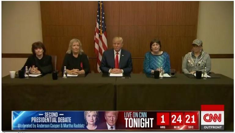 Donald Trump pre-debate press conference, St. Louis, October 9, 2016, CNN, screenshot. From left to right: Kathleen Willey, Juanita Broaddrick, Kathy Shelton, and Paula Jones.