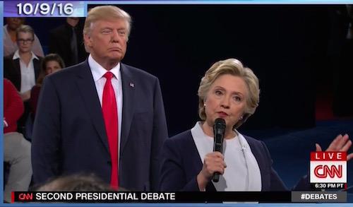 Donald Trump stalking Hillary Clinton, second presidential debate, St. Louis, 10-9-16, screenshot