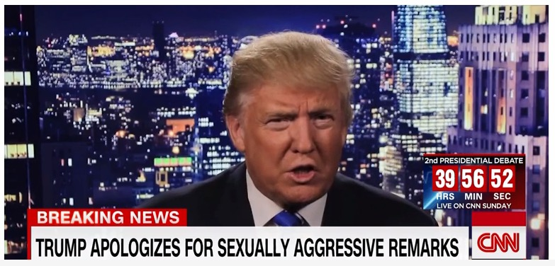 Donald Trump apologizes for sexist remarks, CNN, 10-8-16, screenshot