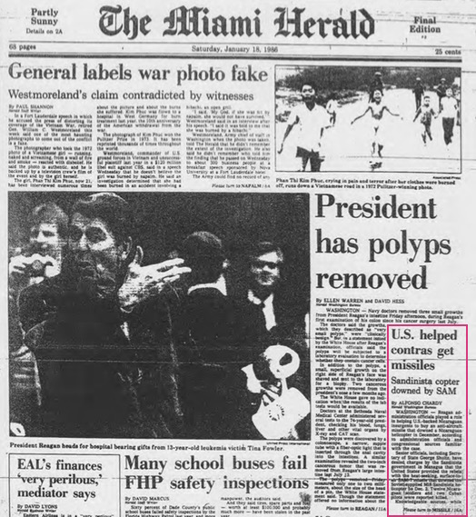 Miami Herald, 1-18-86, front page (detail)