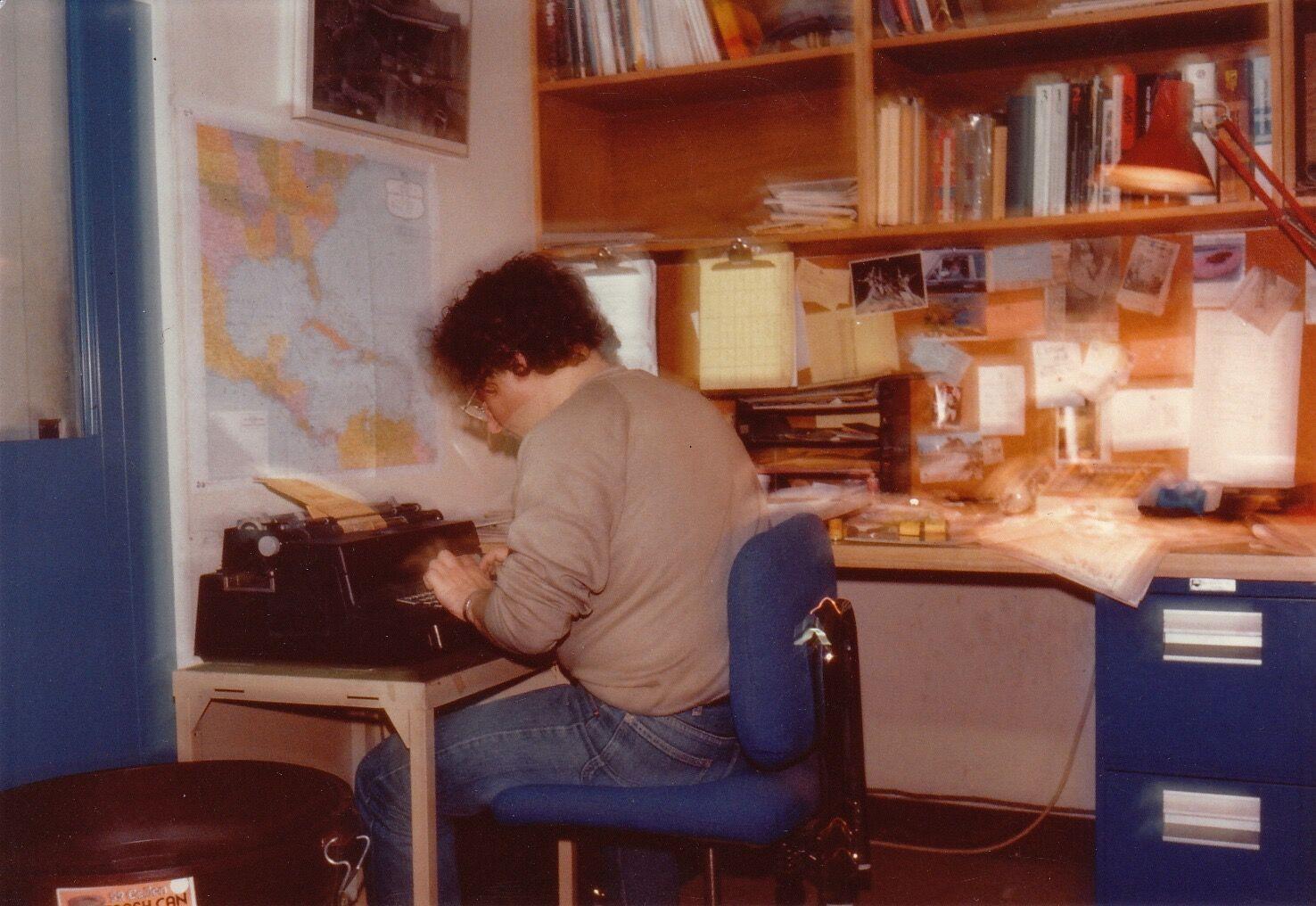 Robert_Dannin, Sygma office, NYC, ca. 1983. Photo by Gérard Rancinan.