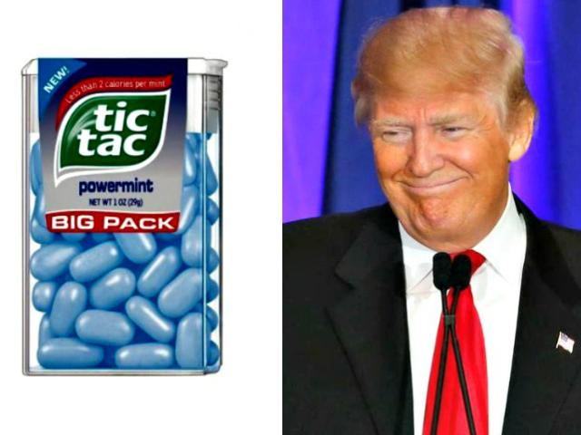 Tic Tacs (l), Donald Trump (r)