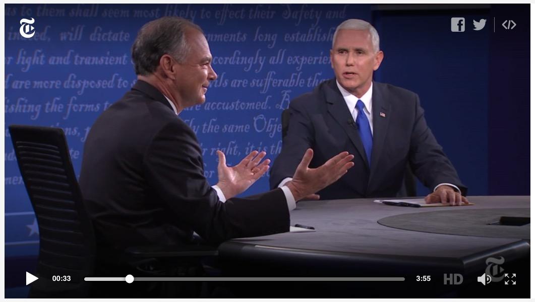 Tim Kaine (l), Mike Pence (r), debate, 10-5-16, screenshot