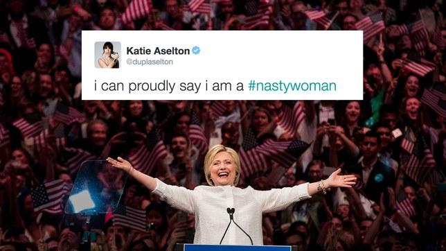 "Katie Aselton, ""Nasty Woman""tweet, 10-19-16"