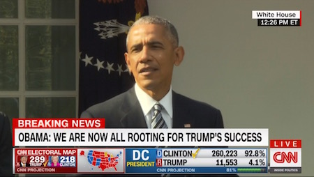 Barack Obama, speech on Trump victory, CNN, 11-9-16, screenshot