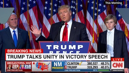 Donald Trump, victory speech, CNN, 11-9-16, screenshot