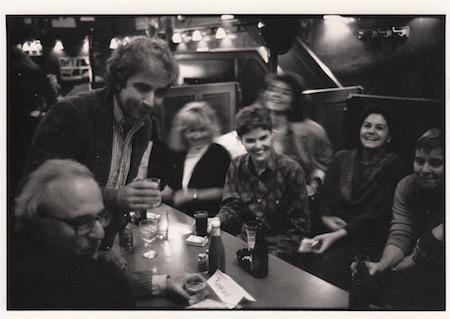 Magnum Photos, Old Towne party, 1986. (l-r) Burt Glinn, Gilles Peress, Catherine Chermayeff, Pamela Dunston, (unidentified) Françoise Piffard, Elizabeth Gallin. Photo by Susan Meiselas.