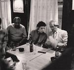 Magnum Photos, Old Towne party, 1986. (l-r) Allen Brown, Lauren Piperno, René Burri. Photo by Susan Meiselas.