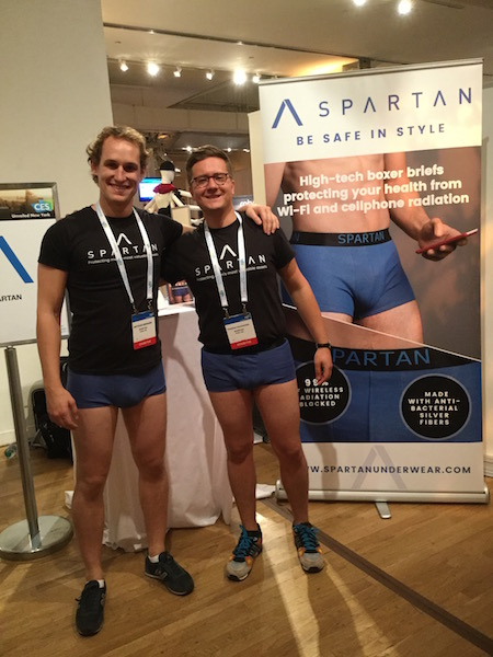 Male models in Spartan Boxer briefs, CES, NYC, 11-10-16. Photo © by A. D. Coleman.