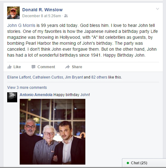 Donald Winslow, birthday greetings to John Morris, Facebook, 12-8-15, screenshot