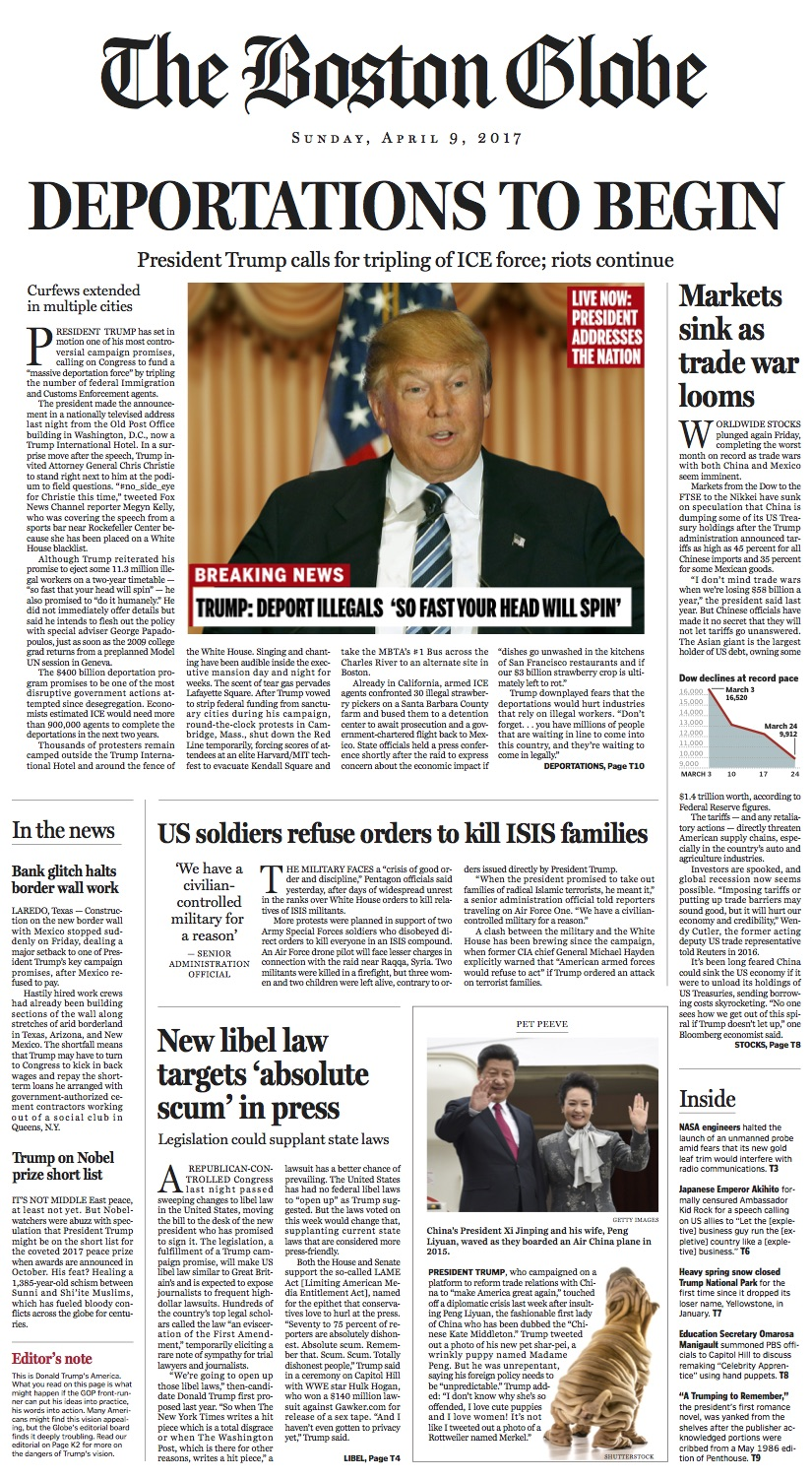 Boston Globe, mock front page, April 9, 2017