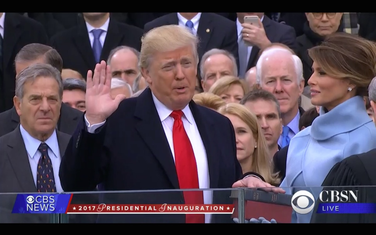Donald J. Trump takes the oath of office as the 45th U.S. president, 1-20-17, CBS, screenshot
