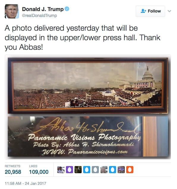 Donald Trump tweet re inaugural photo, 1-24-17