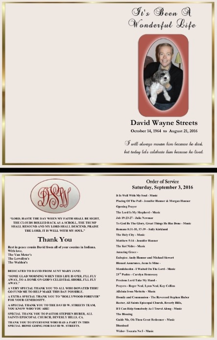 David W. Streets memorial service program 9/3/16