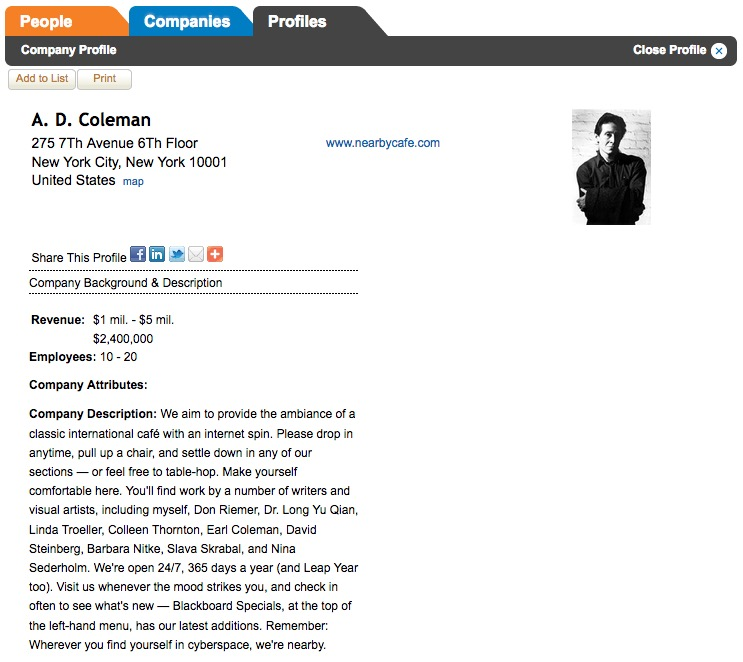 Zoominfo, A. D. Coleman/Nearby Café company profile, screenshot, 2-5-17