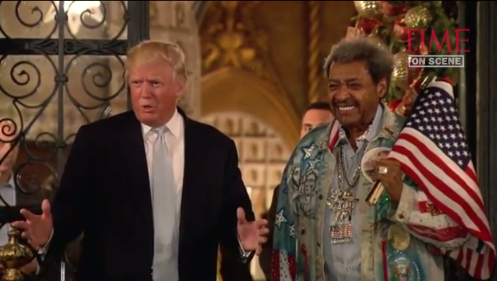 Donald Trump with Don King, Palm Beach, FL, 12-28-16, screenshot