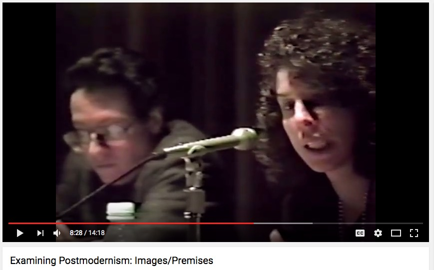 "Shelley Rice (r), ""Examining Postmodernism"" panel, NYU, 1991"