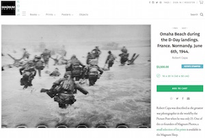 Magnum Photos online shop, Robert Capa D-Day print, screenshot