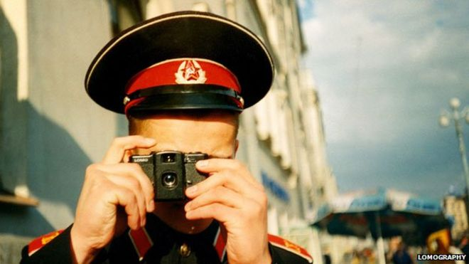 Russian soldier with Lomo camera, courtesy Lomographt