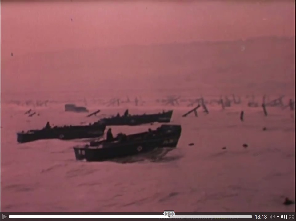 """At the Beaches of Normandy"" (1944), U.S. Coast Guard film, screenshot (b)"