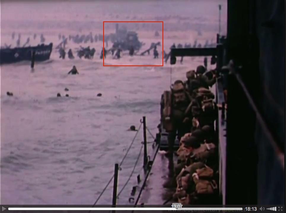 """At the Beaches of Normandy"" (1944), U.S. Coast Guard film, screenshot (d)"