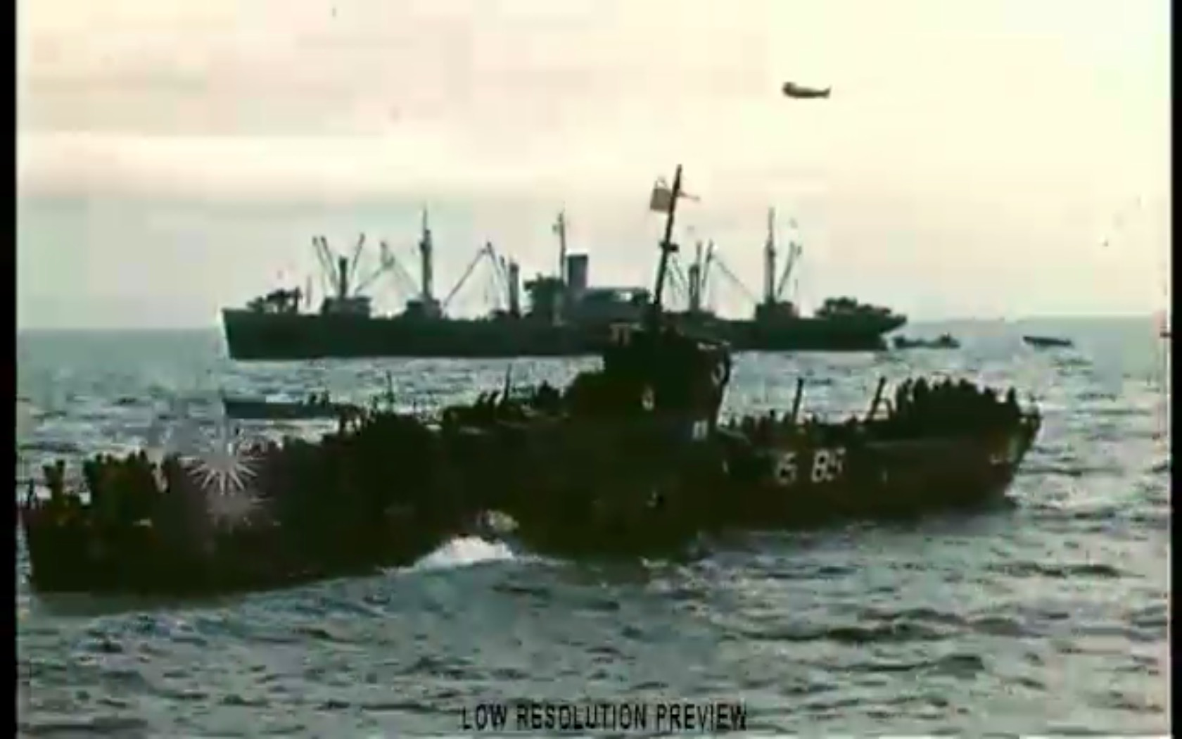 LCI(L)-85 returning to the USS Chase on D-Day, USCG film by David T. Ruley