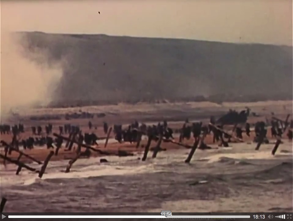 """At the Beaches of Normandy"" (1944), U.S. Coast Guard film, screenshot (a)"