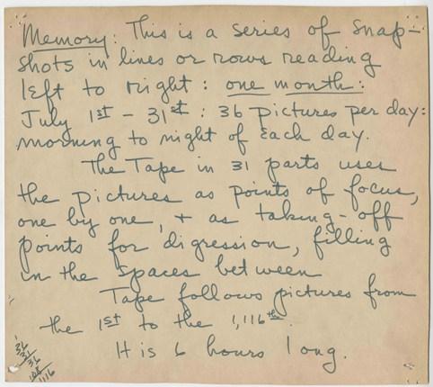 """Bernadette Mayer, """"Memory,"""" artist's statement, 1972"""