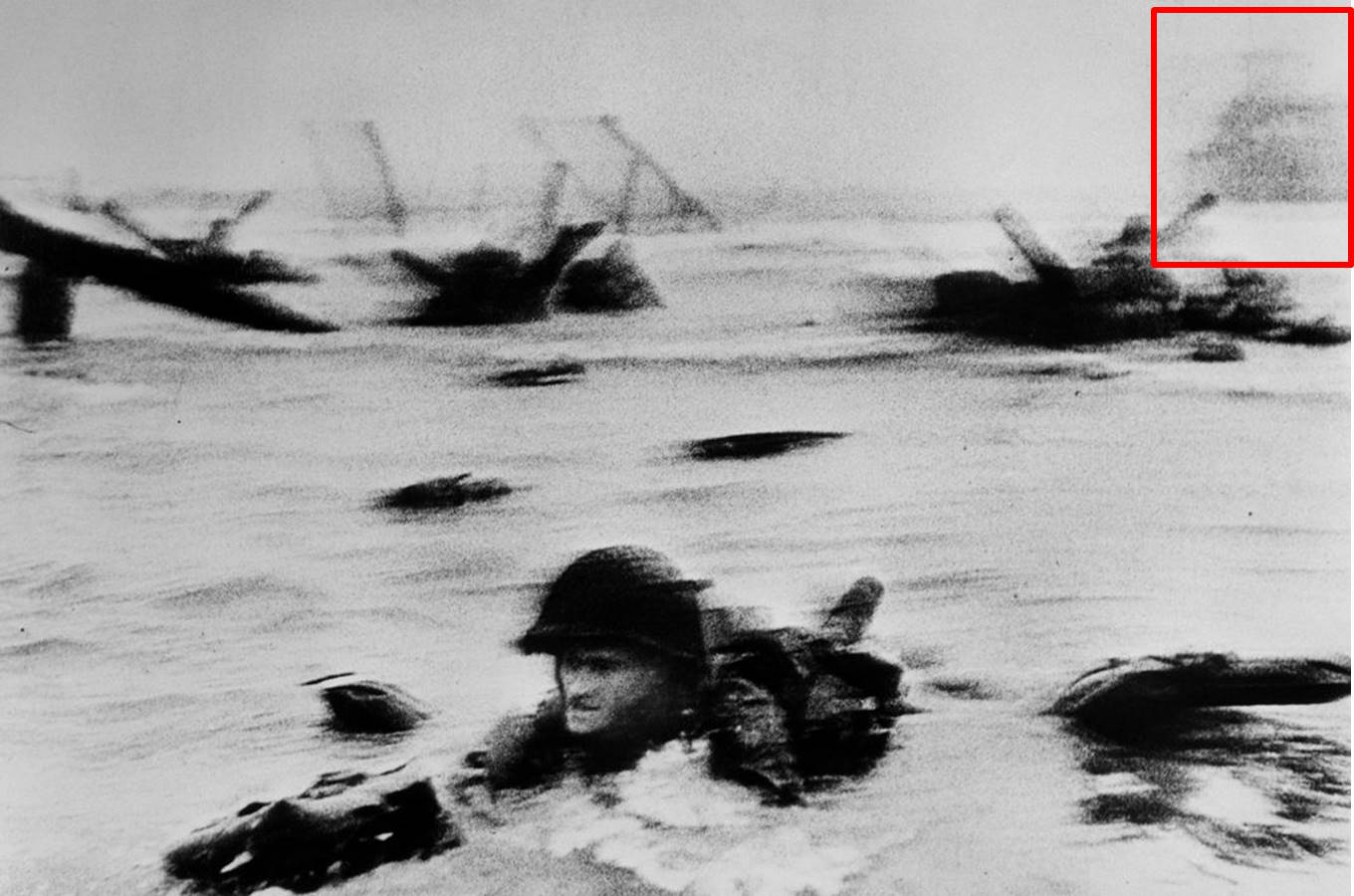 "Fig. 1: Robert Capa, ""The Face in the Surf,"" annotated"