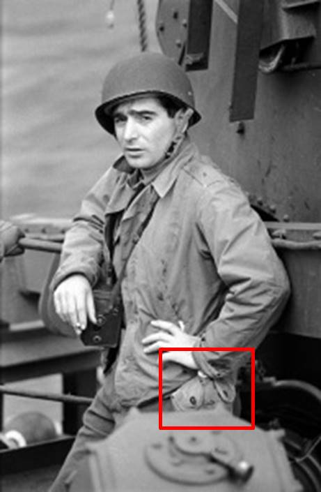 Fig. 13: Robert Capa, Weymouth, England, 6/7/44. Photo by David Scherman (annotated).
