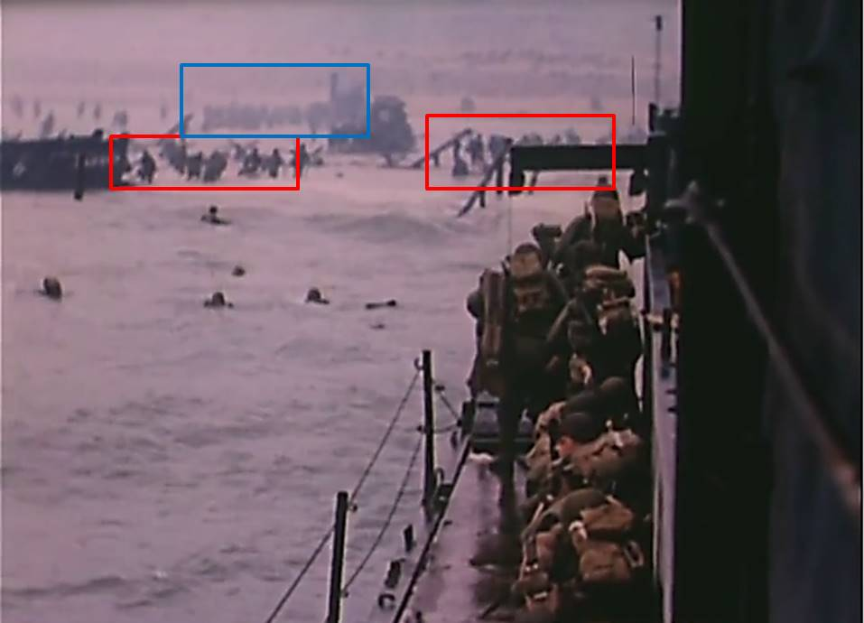 Fig. 17: David T. Ruley, Easy Red sector, Omaha Beach, D-Day, USCG film, annotated
