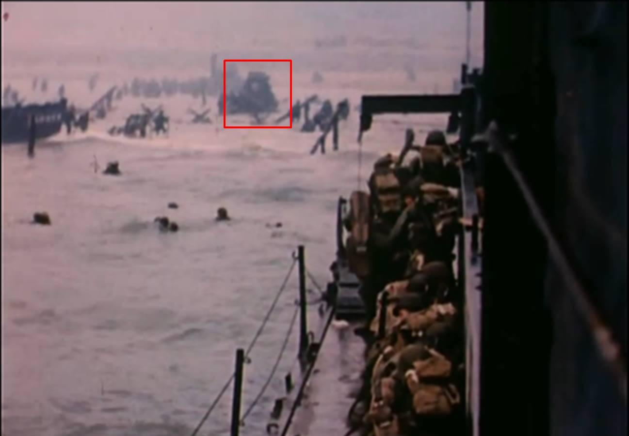 Fig. 2: David T. Ruley, Easy Red sector, Omaha Beach, USCG film, 6/6/44 (a), annotated