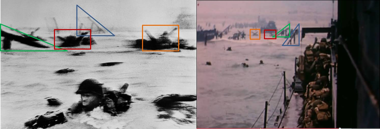"Fig. 4: Robert Capa, ""The Face in the Surf"" (l); David Ruley, frame from D-Day film (r)"