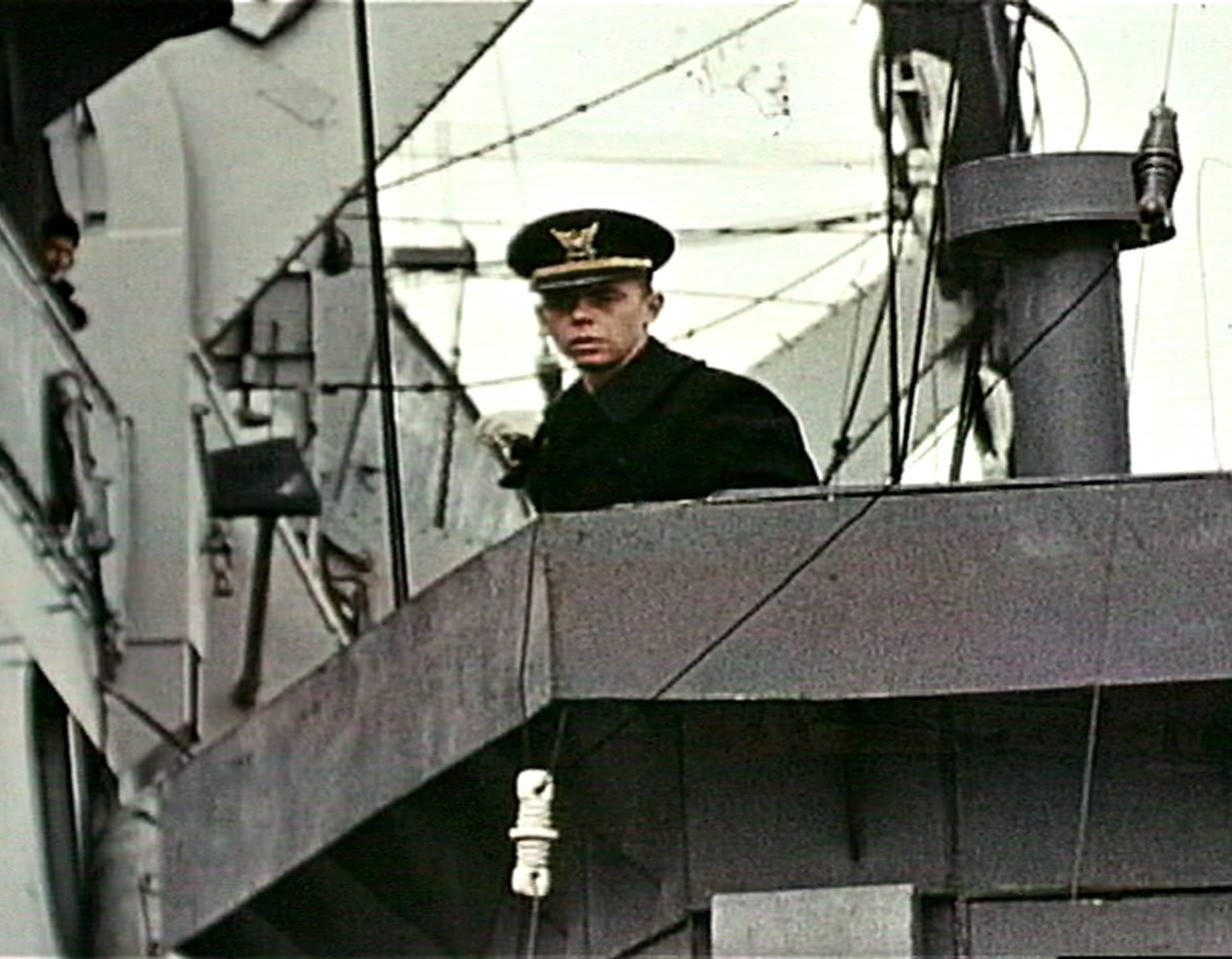 Fig. 5: Lt. Gene R. Gislason, captain of LCI(L)-94, frame from USCG film by David Ruley