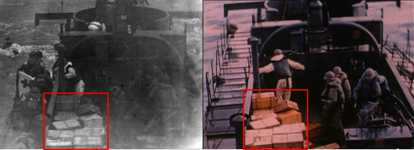 Fig. 6: View of rations stored on deck of LCI(L)-94 on D-Day, photo by Lt. Gene R. Gislason (l); same view, same day, frame from USCG D-Day film by David Ruley (r)